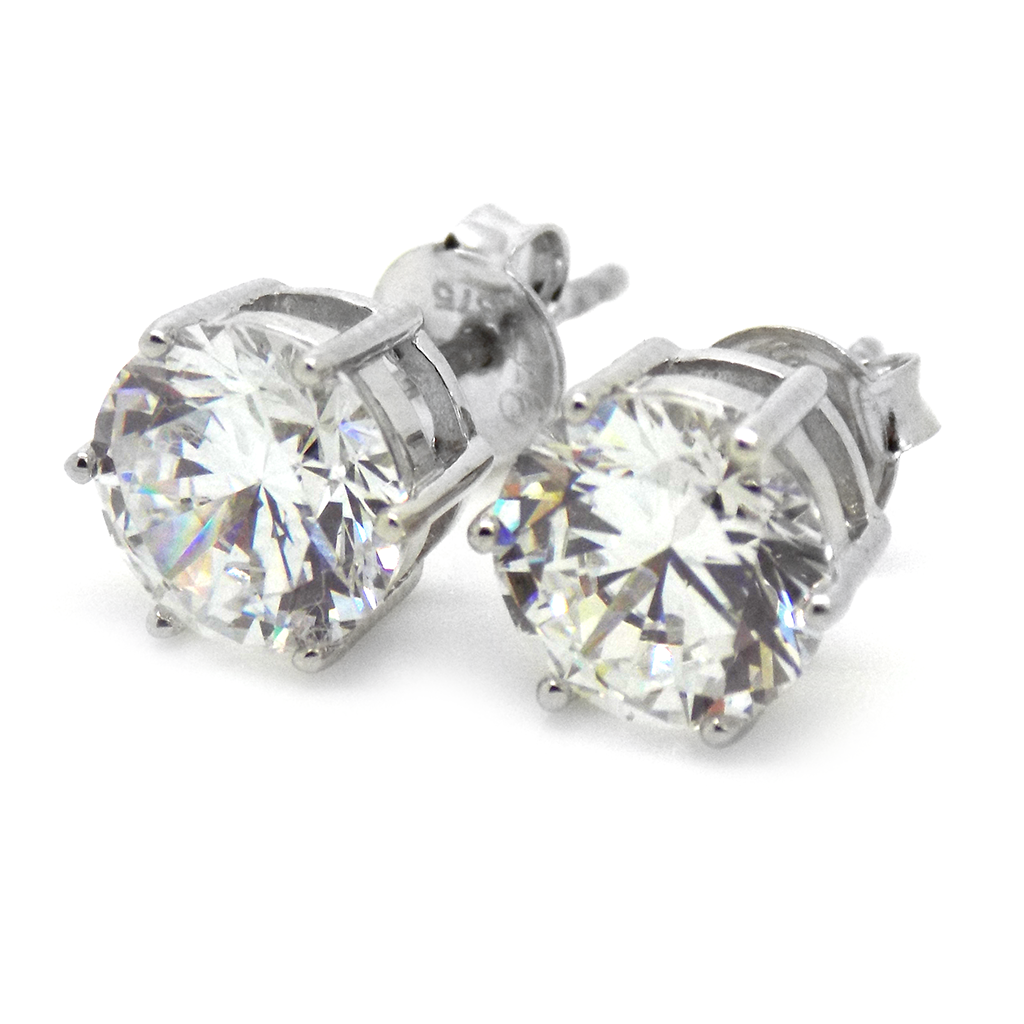 9ct White Gold 8mm CZ Claw Set Stud Earrings