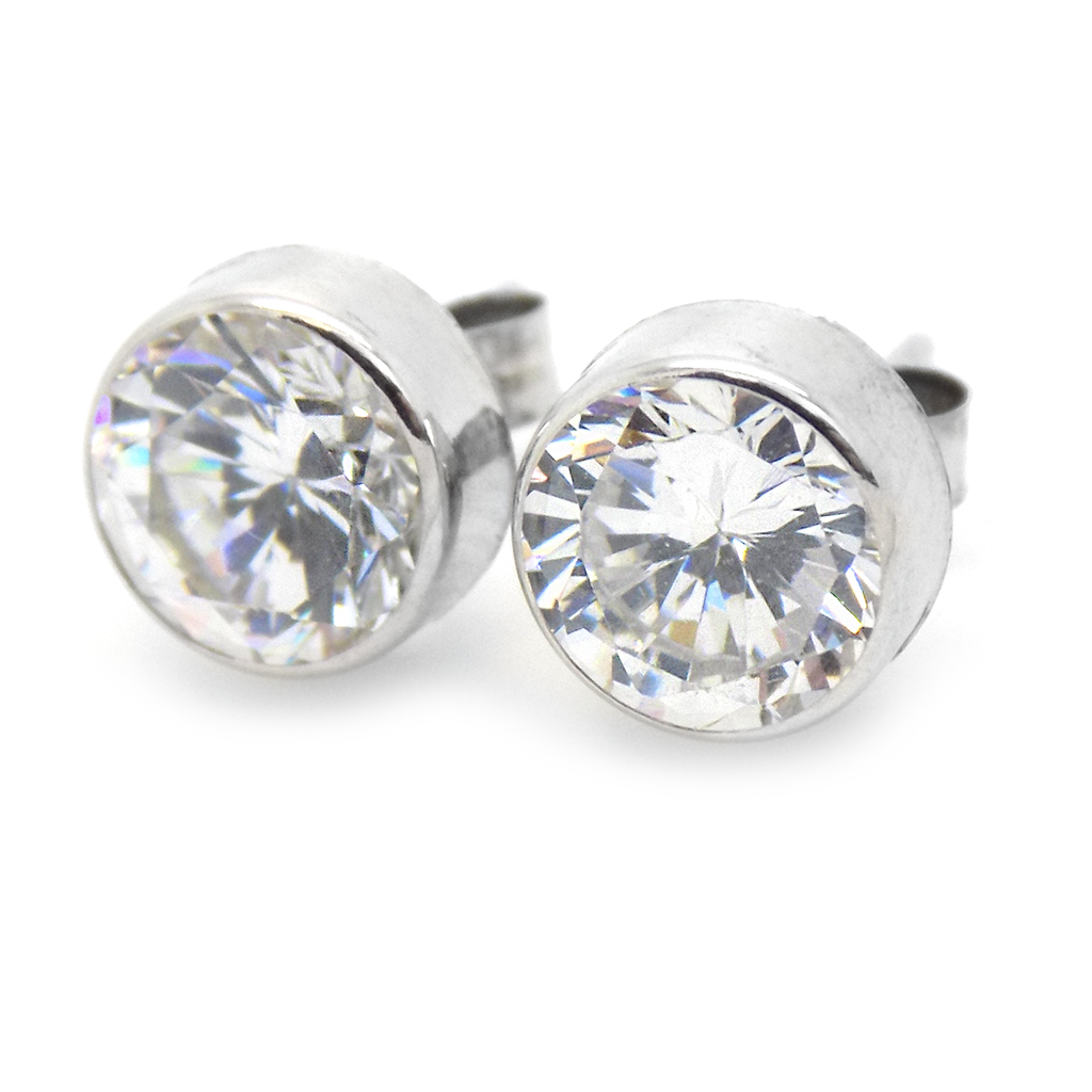 9ct White Gold 7mm CZ Rub Over Set Stud Earrings