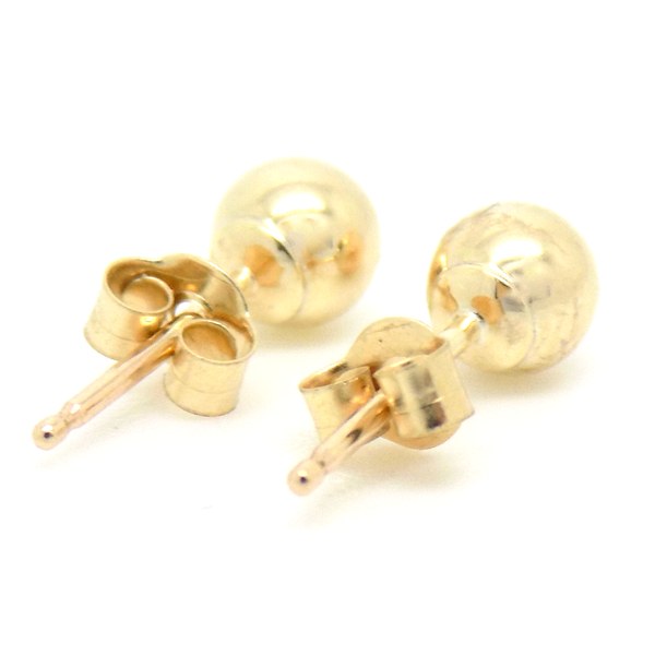 9ct Yellow Gold 4mm Ball Stud Earrings Reverse