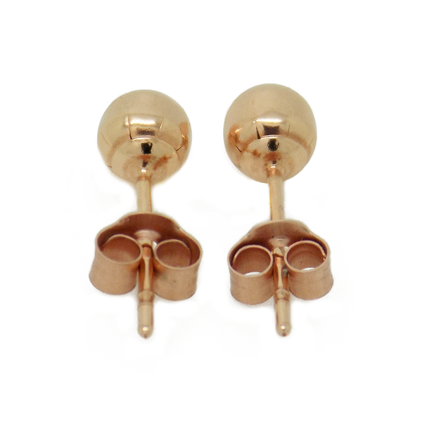 9ct Rose Gold 4mm Ball Stud Earrings - Fastening Detail
