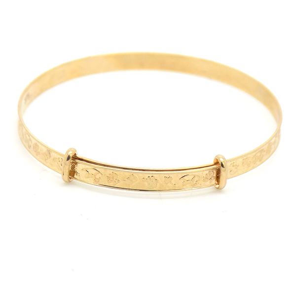 9ct Yellow Gold Child's Christening Expanding Bangle Reverse