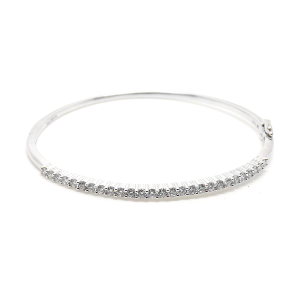 9ct White Gold Claw Set Diamond Bangle