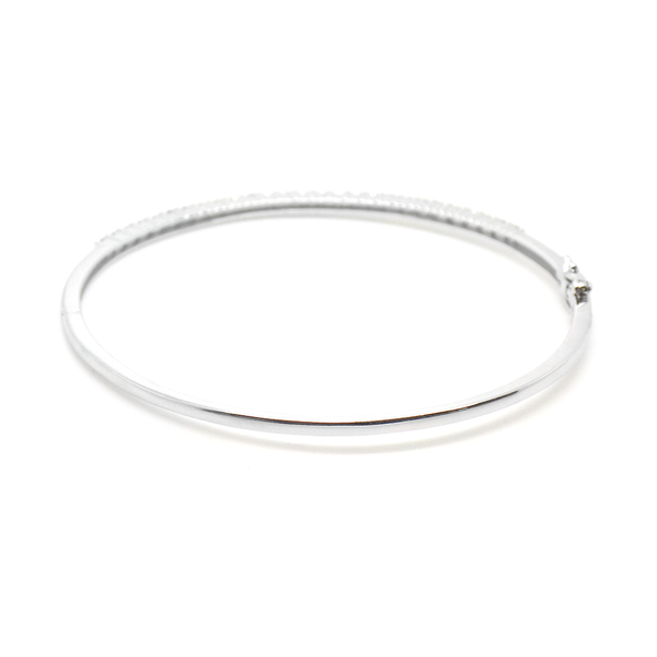 9ct White Gold Claw Set Diamond Bangle Back