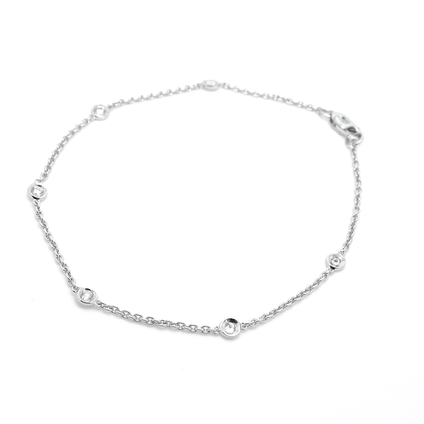 18ct White Gold Diamond Rub Over Set Bracelet