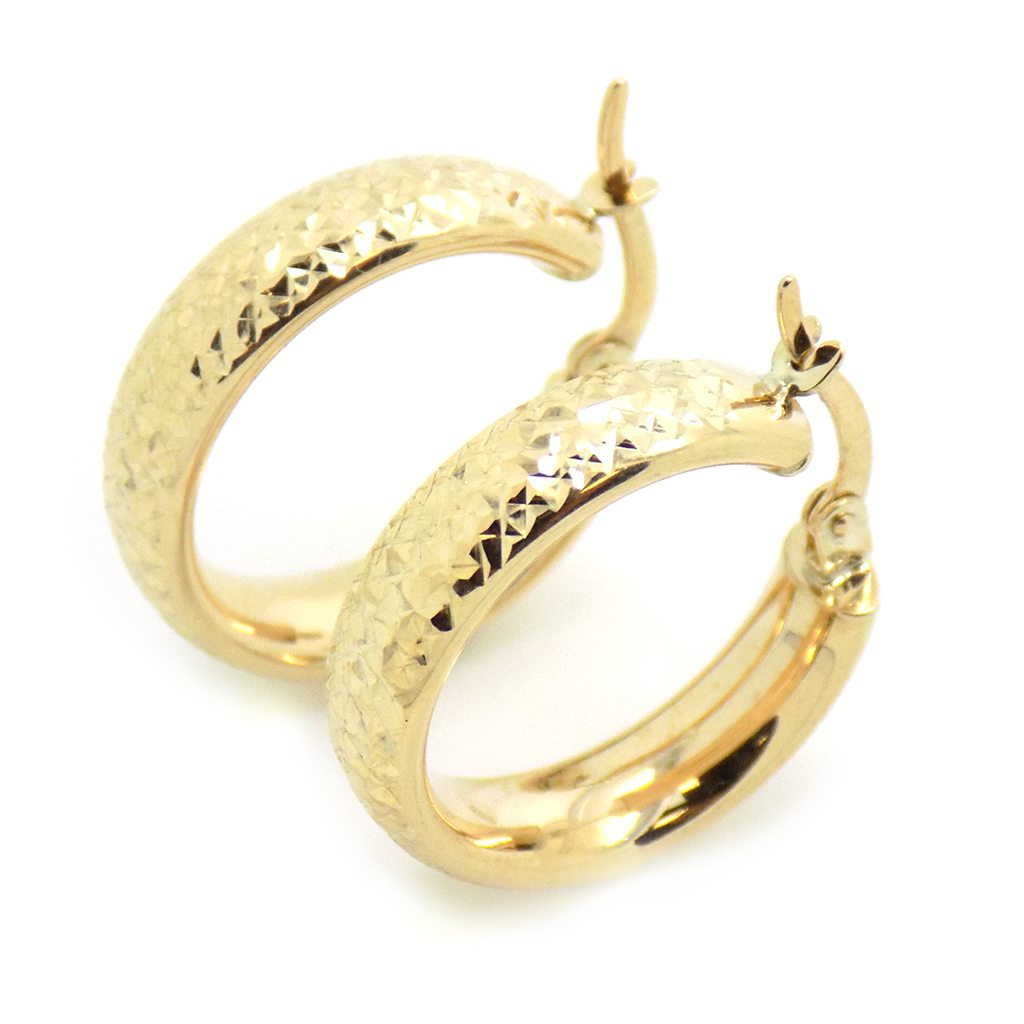 9ct Yellow Gold Diamond-Cut Hoop Earrings