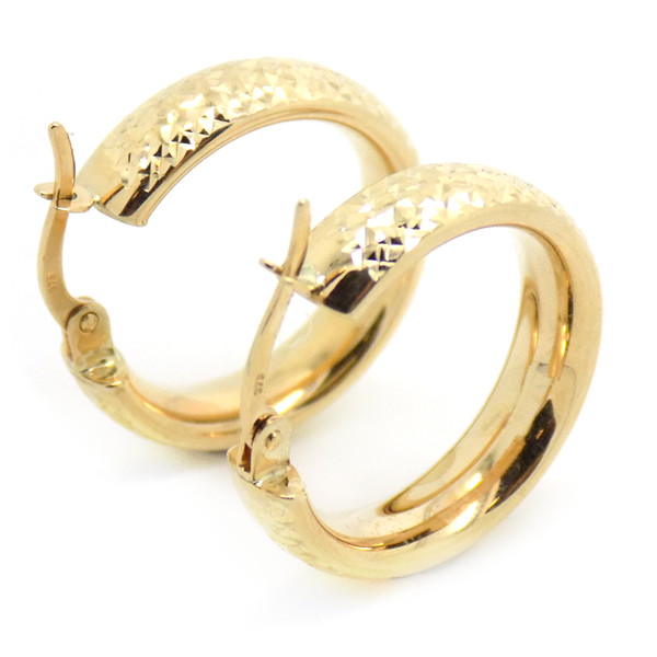 9ct Yellow Gold Diamond-Cut Hoop Earrings Reverse