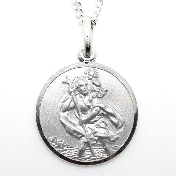 Gents Sterling Silver Double Sided St Christopher Pendant