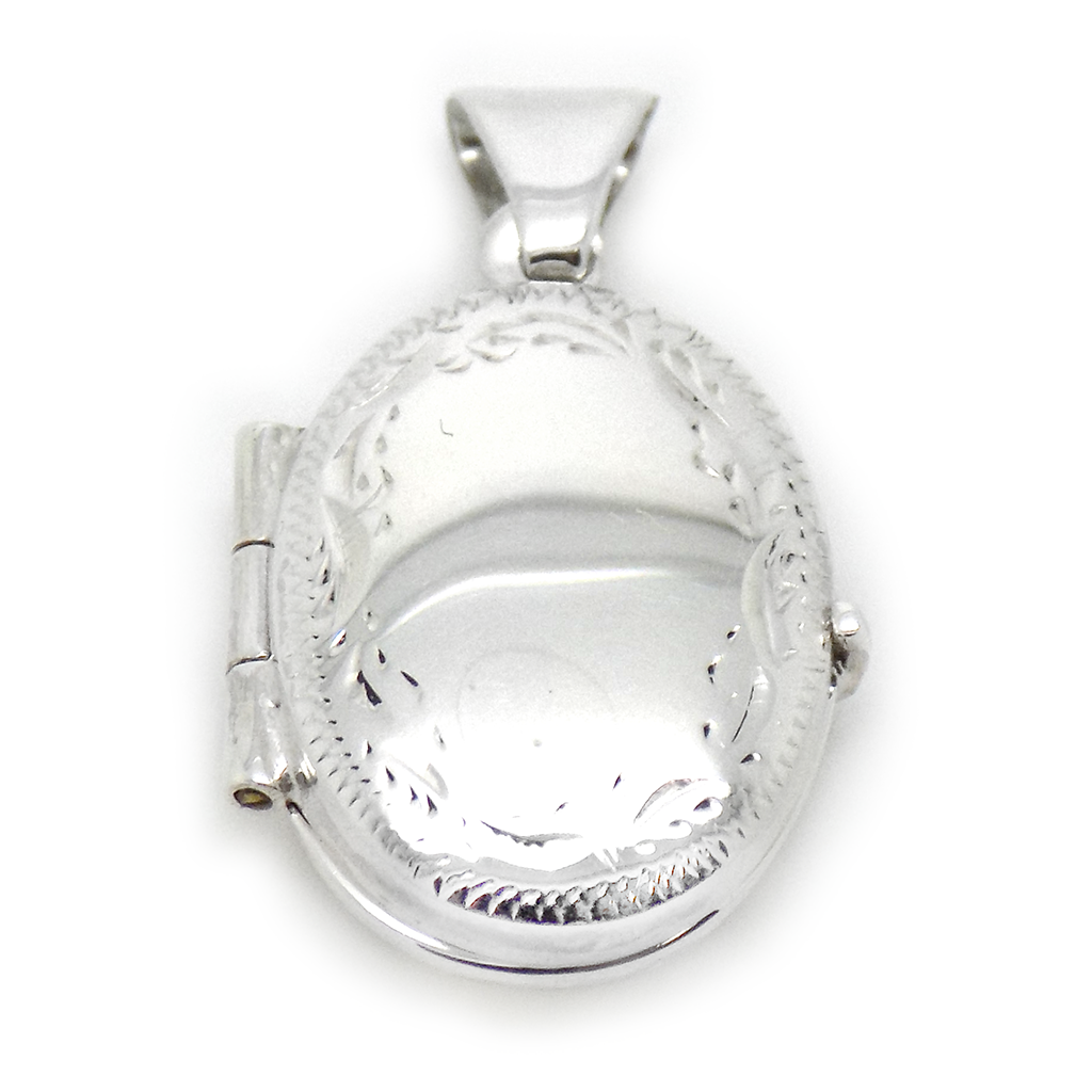 Sterling Silver Oval Engraved Locket Pendant