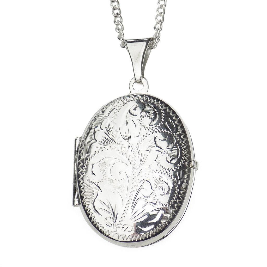 Sterling Silver Medium Oval Engraved Acanthus Leaf Locket Pendant