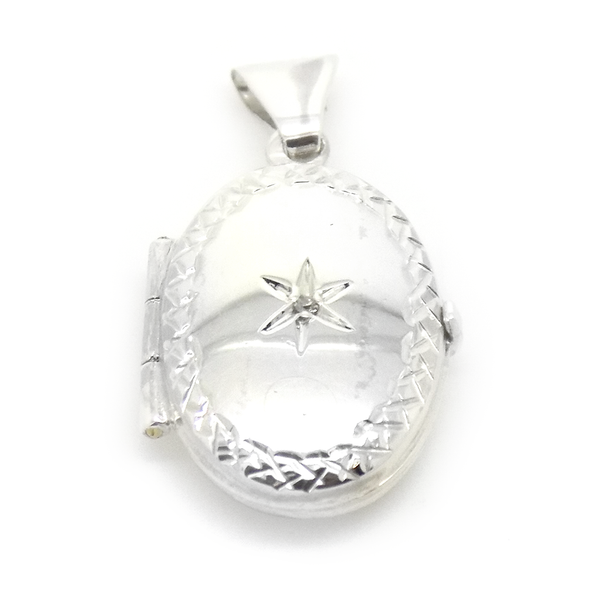Sterling Silver Oval Diamond Engraved Locket Pendant