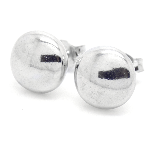 Sterling Silver 10mm Plain Button Stud Earrings