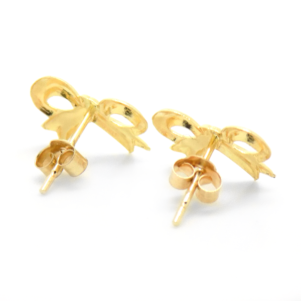 9ct Yellow Gold Bow Stud Earrings Reverse