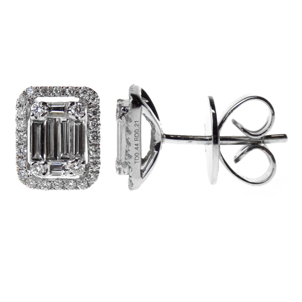 18ct White Gold Baguette & Round Diamond Stud Earrings