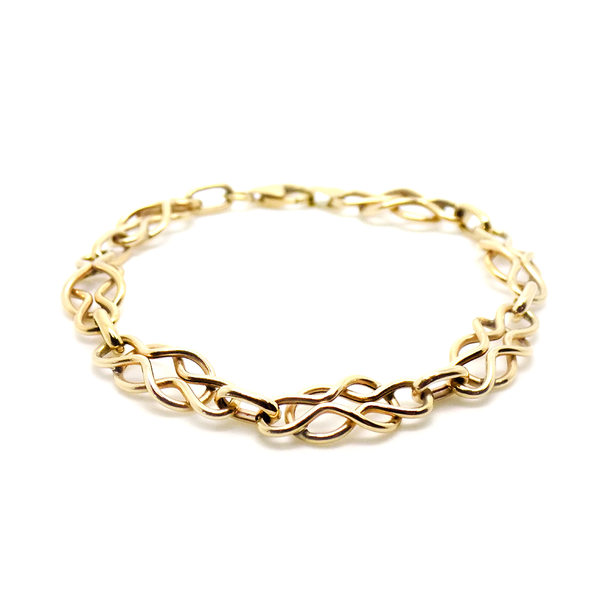 9ct Yellow Gold Hollow Celtic Style Link Bracelet