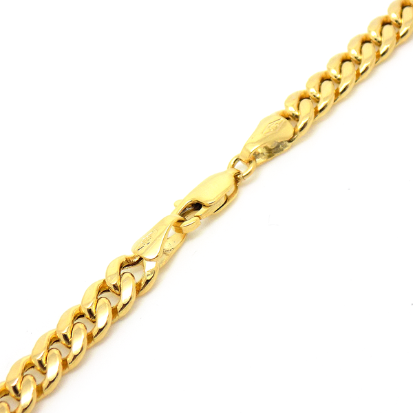 "9ct Yellow Gold 22"" Hollow Domed Curb Link Chain Fastening"