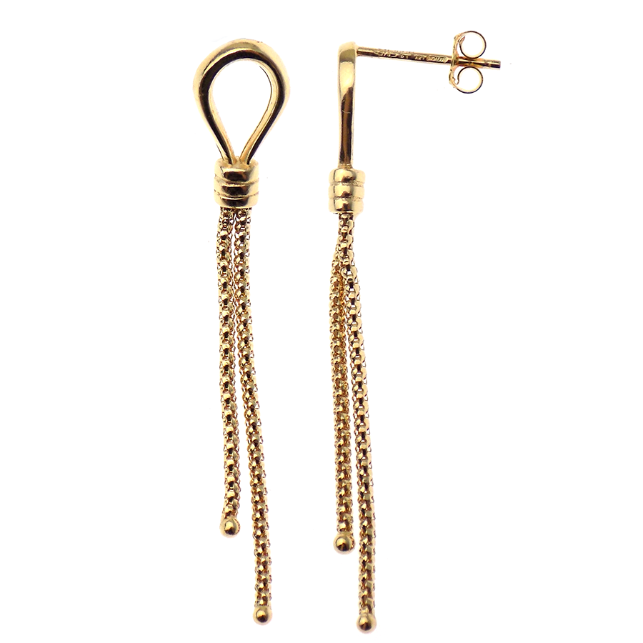 9ct Yellow Gold Loop & Double Chain Drop Earrings