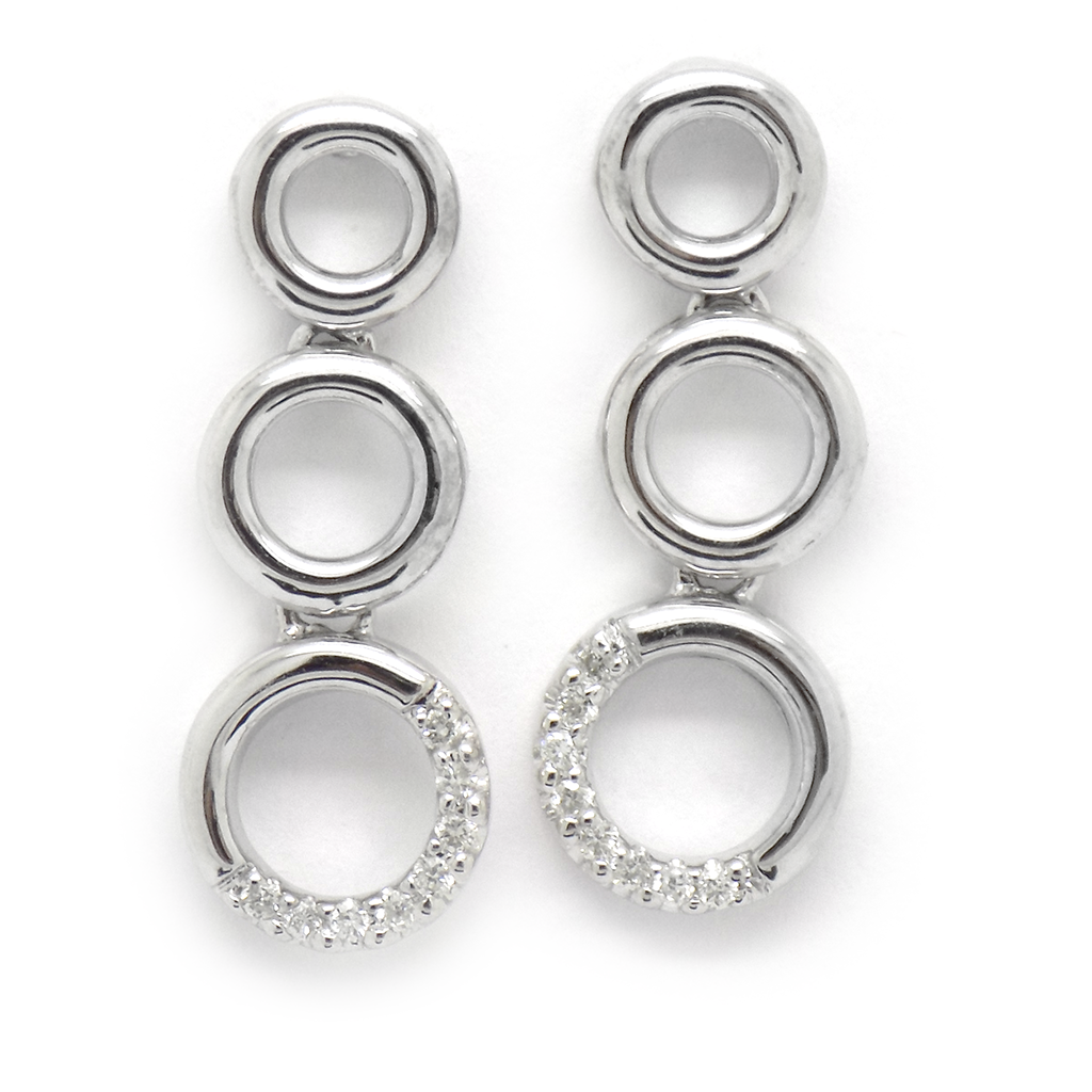 9ct White Gold Diamond Triple Graduated Open Circle Drop Earrings