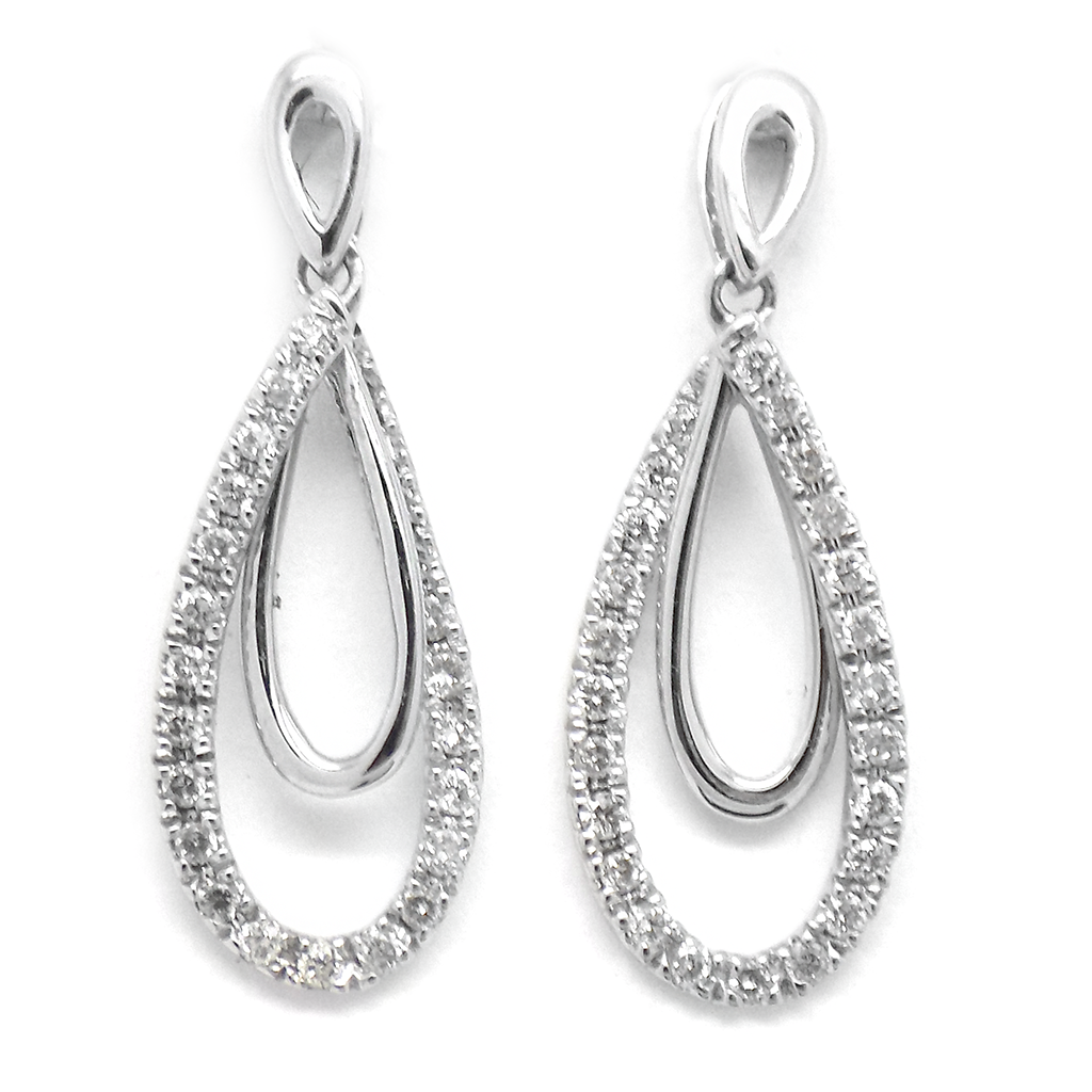 9ct White Gold Double Teardrop Diamond Drop Earrings