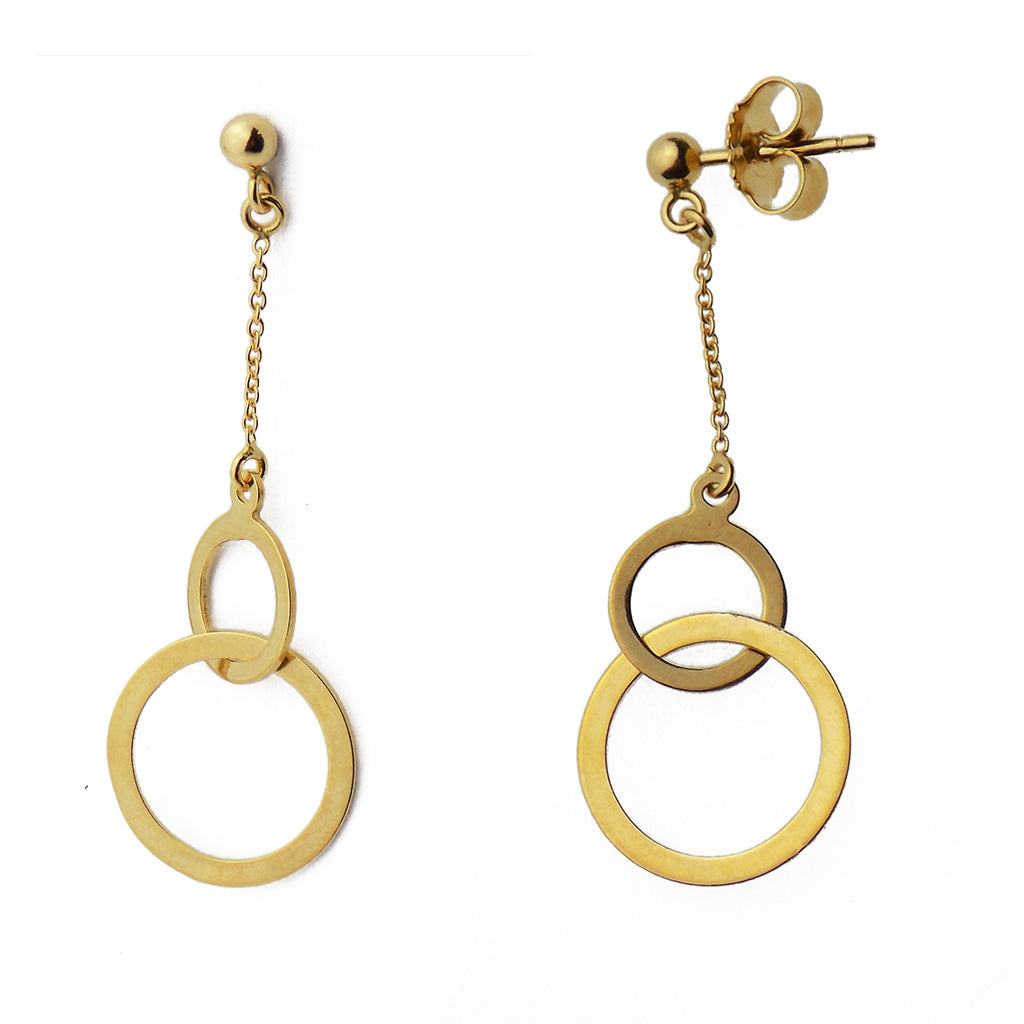 9ct Yellow Gold Two Circle Drop Earrings