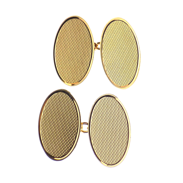 Pre-Loved Gents 9ct Yellow Gold Double Oval Cufflinks