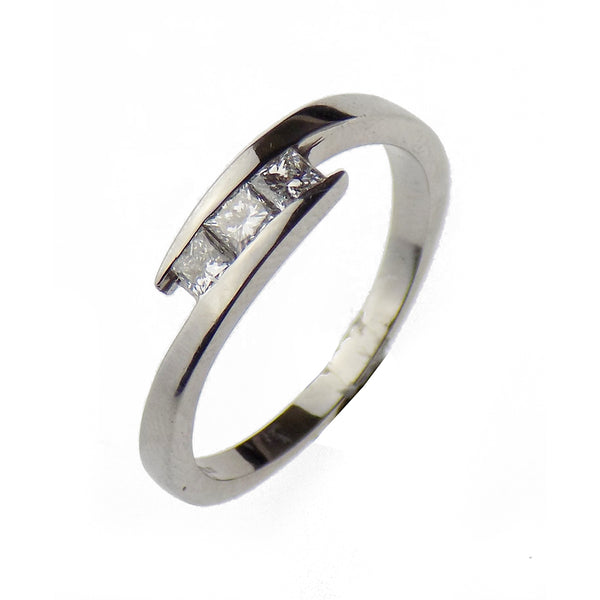 Pre-Loved 18ct White Gold Three Princess-Cut Diamond Crossover Ring