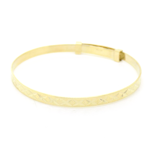 9ct Yellow Gold Diamond Cut Expanding Christening Bangle