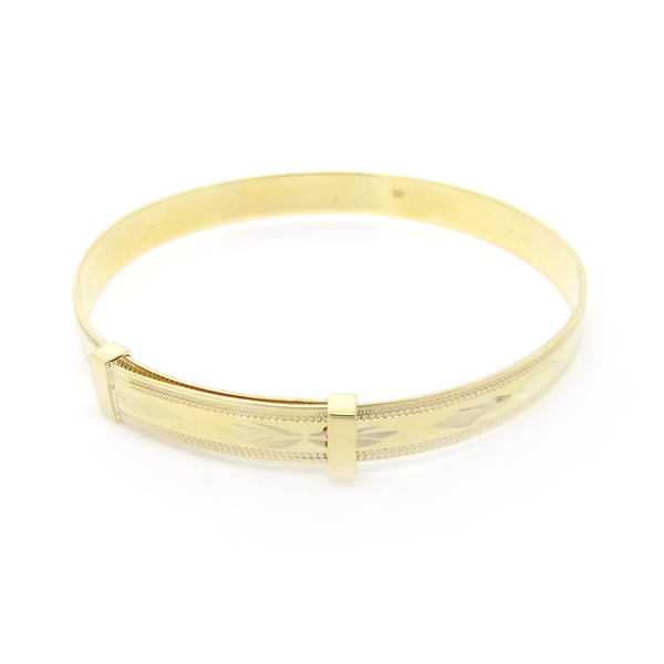 9ct Yellow Gold Diamond Cut Expandable Christening Bangle