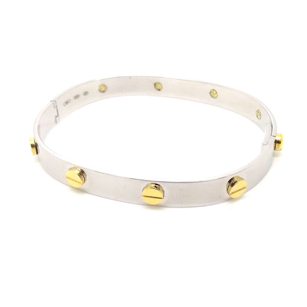 9ct White Gold Bangle with Yellow Gold Screw Hinge Detail