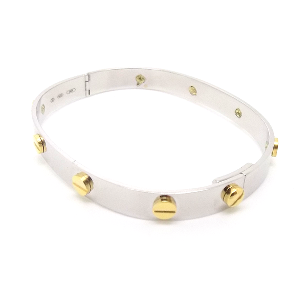 9ct White Gold Bangle with Yellow Gold Screw Hinge Detail Fastening