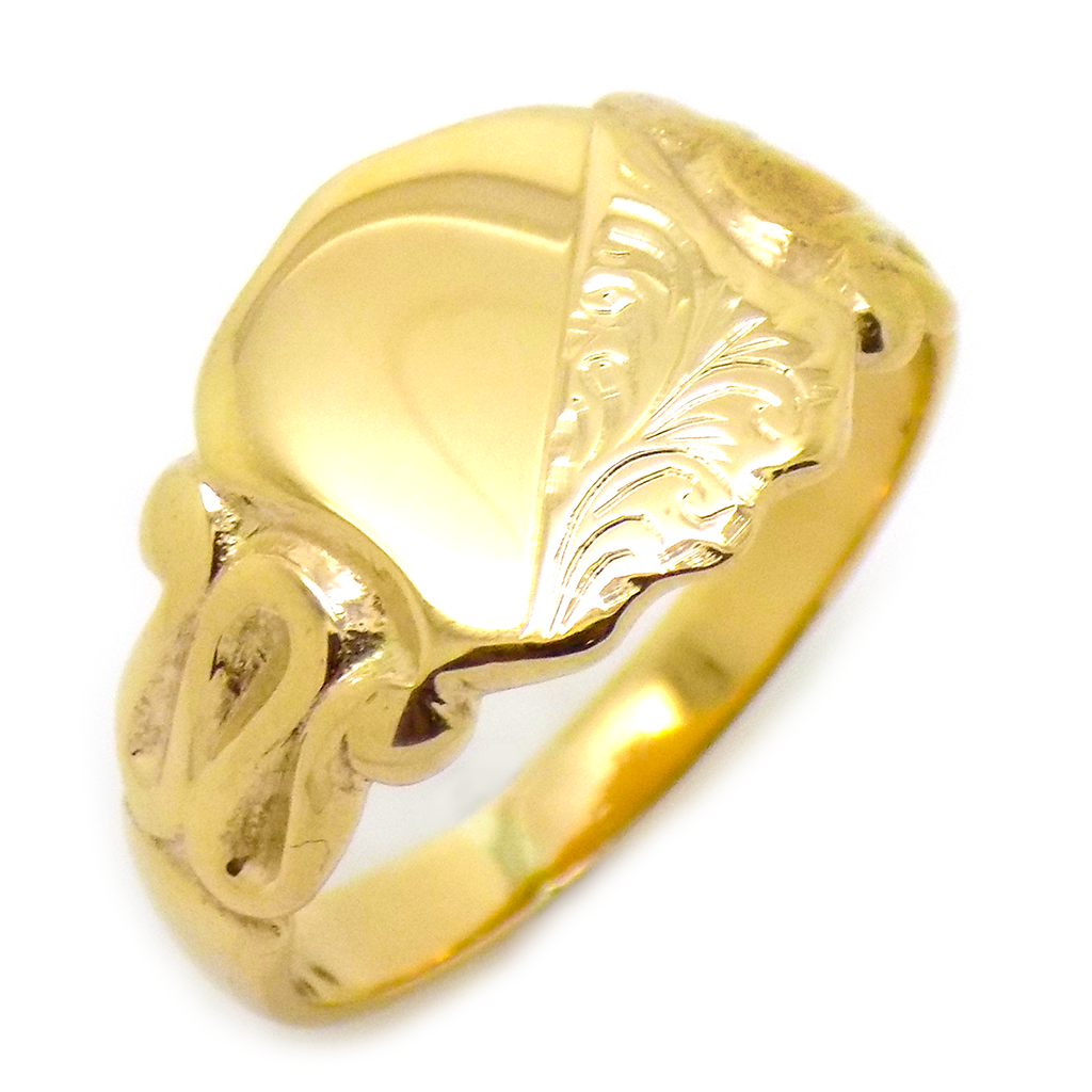 Pre-Loved Gents 9ct Yellow Gold Engraved Shield Shape Signet Ring