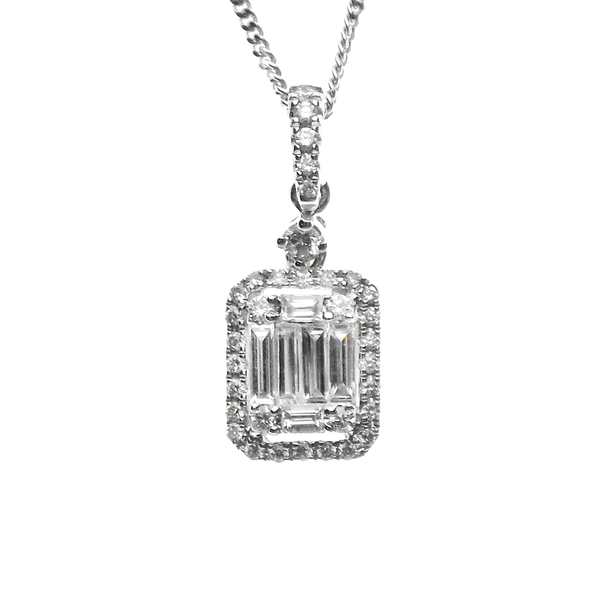 18ct White Gold Baguette & Round Diamond Cluster 'Halo' Pendant & Chain