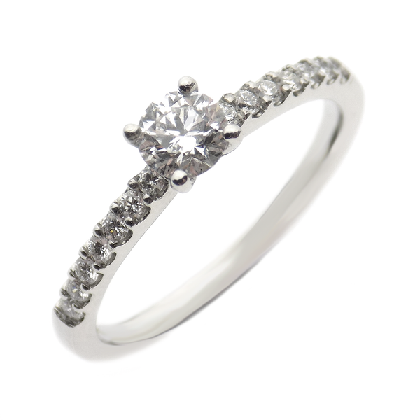 Pre-Loved Platinum 0.34ct Single Brilliant-Cut Diamond Ring with Diamond Set Shoulders