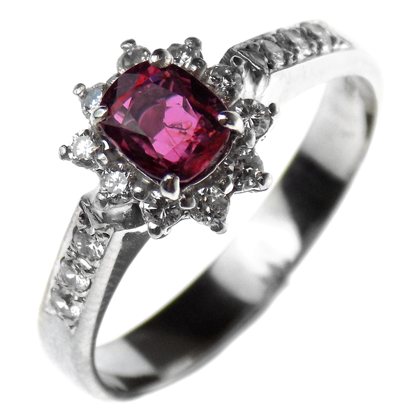 Pre-Loved 9ct White Gold Ruby & Diamond Cluster Ring
