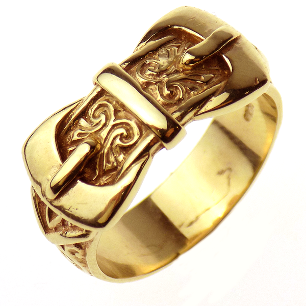 Pre-Loved 9ct Yellow Gold Gents Solid Double Buckle Ring