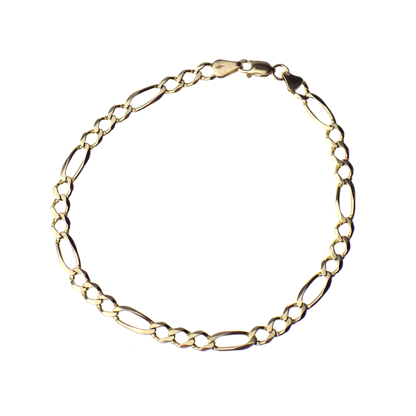 "Pre-Loved 9ct Yellow Gold 9"" Figaro Link Bracelet"