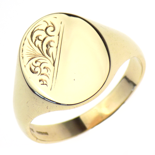 Pre-Loved Gents 9ct Yellow Gold Oval Signet Ring