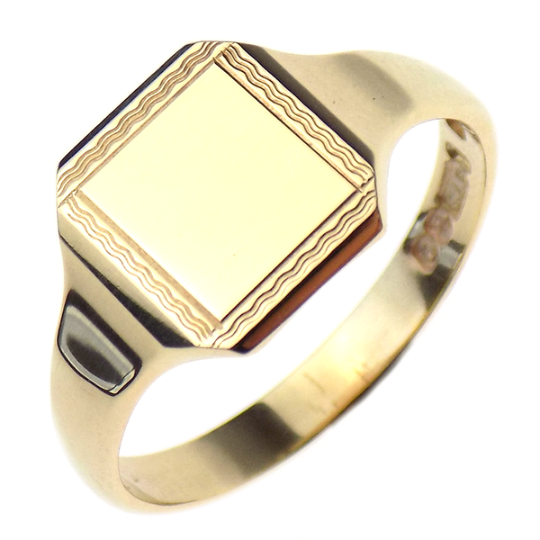 Pre-Loved 9ct Yellow Gold Square Shape Signet Ring with Beaded Edge