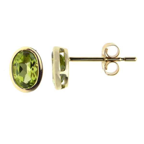 9ct Yellow Gold Oval Peridot Stud Earrings