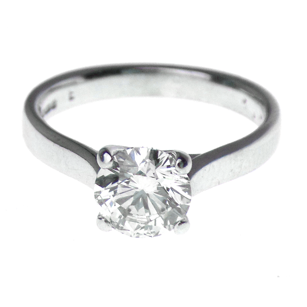 Pre-Loved 18ct White Gold 1.02ct Single Diamond Ring Front