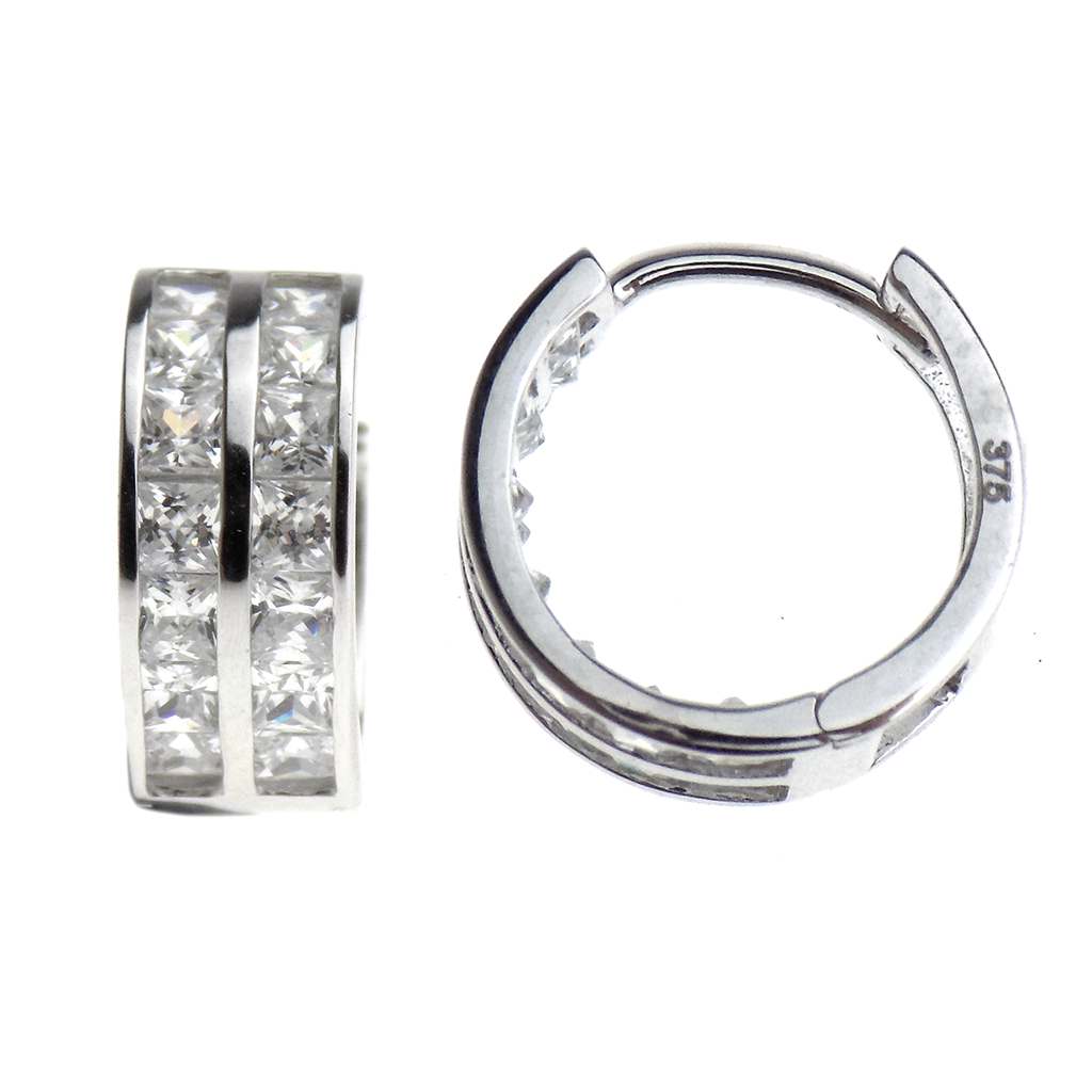 9ct White Gold Two Row CZ Hoop Earrings