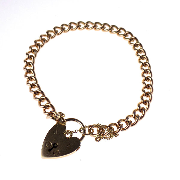 Pre-Loved 9ct Rose Gold Solid Charm Bracelet with 9ct Yellow Gold Heart Padlock & Safety Chain