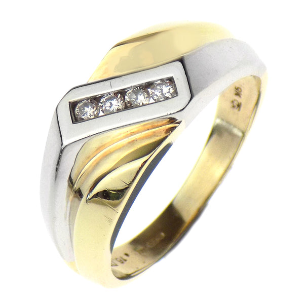 Pre-Loved Gents 9ct Yellow & White Gold Diamond Crossover Ring