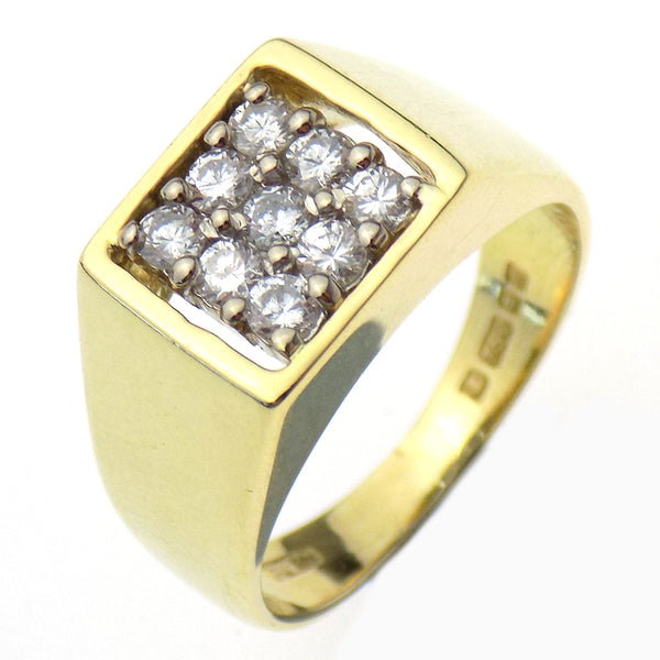 Pre-Loved 18ct Yellow Gold Nine Stone Diamond Square Shape Ring