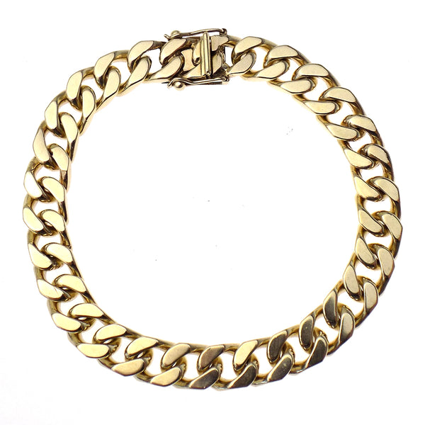"Pre-Loved Gents 9ct Yellow Gold Solid Heavy 9"" Curb Link Bracelet"