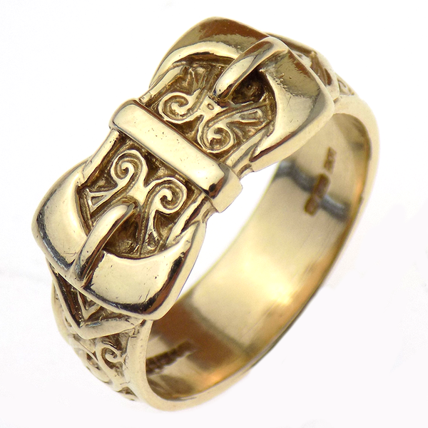 Pre-Loved Gents 9ct Yellow Gold Solid Full Engraved Double Buckle Ring