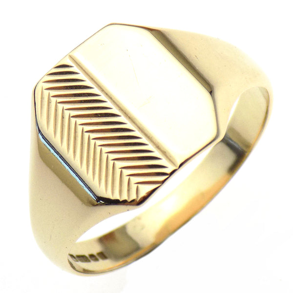 Pre-Loved Gents 9ct Yellow Gold Cushion Shape Half Engraved Signet Ring