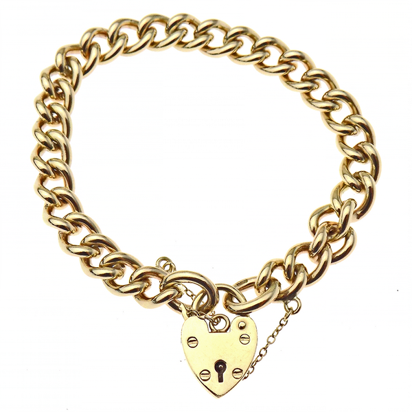 "Pre-Loved 9ct Yellow Gold 7"" Solid Curb Link Bracelet with Heart Padlock & Safety Chain"