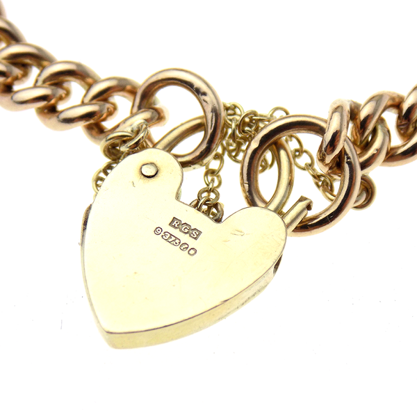 Pre-Loved 9ct Rose Gold Charm Bracelet with Heart Padlock & Safety Chain Hallmark