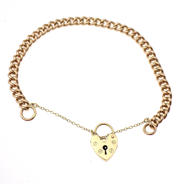 Pre-Loved 9ct Rose Gold Charm Bracelet with Heart Padlock & Safety Chain