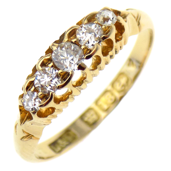 Pre-Loved 18ct Yellow Gold Five Stone Diamond 'Victorian' Style Ring